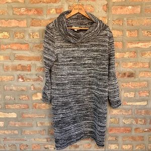 LOFT Outlet Petite Black White Sweater Dress